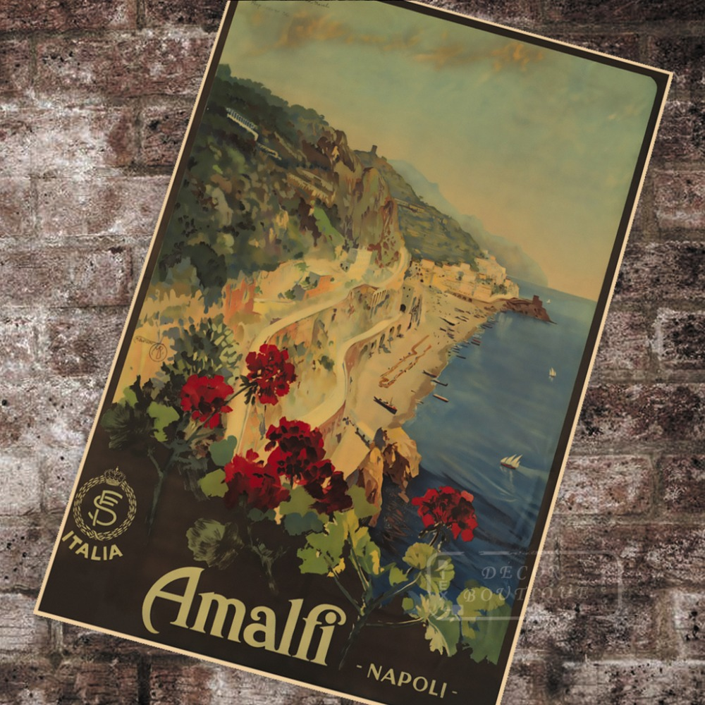 World Vintage Travel Poster Italy Amalfi - Napoli Classic Canvas Paintings Vintage Wall Posters Stickers Home Decor Gift