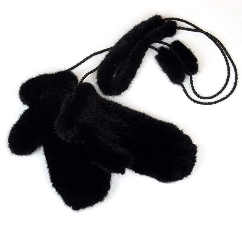 NGSG hiver femmes vison fourrure gants rose véritable épais vison gants mitaines russe solide femelle chaud adulte en cuir gant EA4050-26 - 2