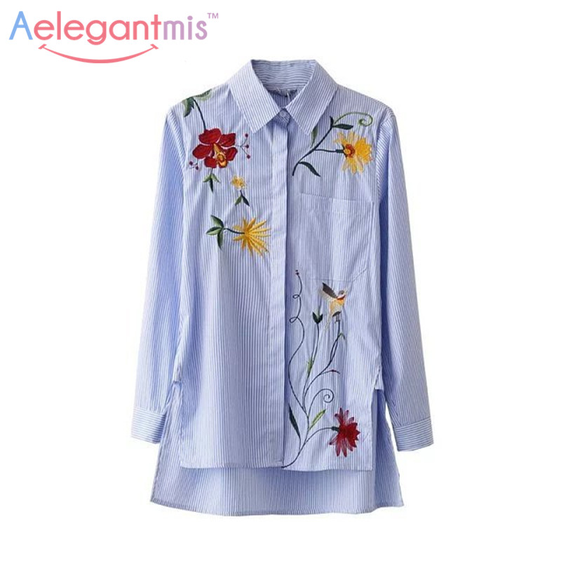 Aelegantmis embroidered shirt ladies women striped shirts
