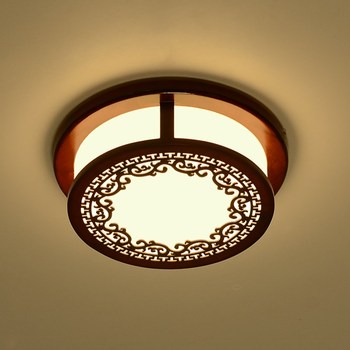 Modern Chinese Ceiling Lights wooden circular LED bedroom lamp Aisle retro living room dining room simple ceiling lamp ZA9203