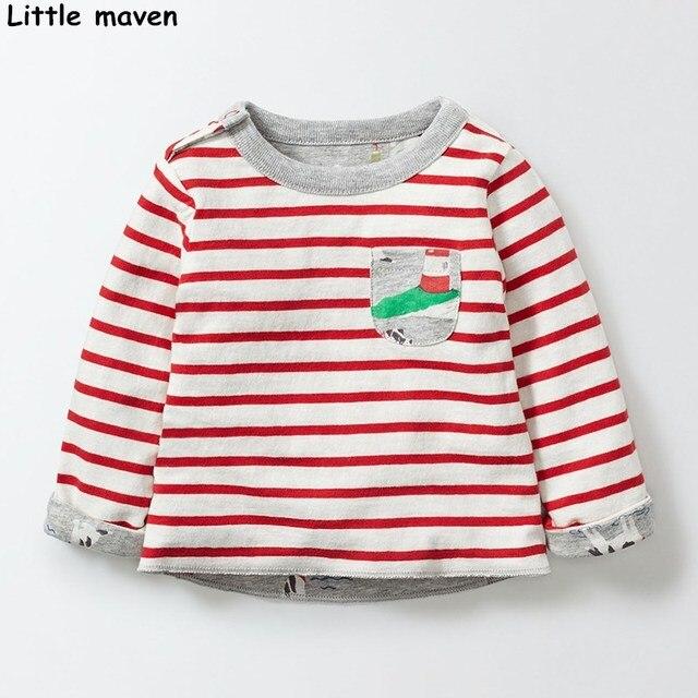 Little maven children brand baby boy clothes 2017 autumn new boys cotton long sleeve red striped pocket t shirt 50889