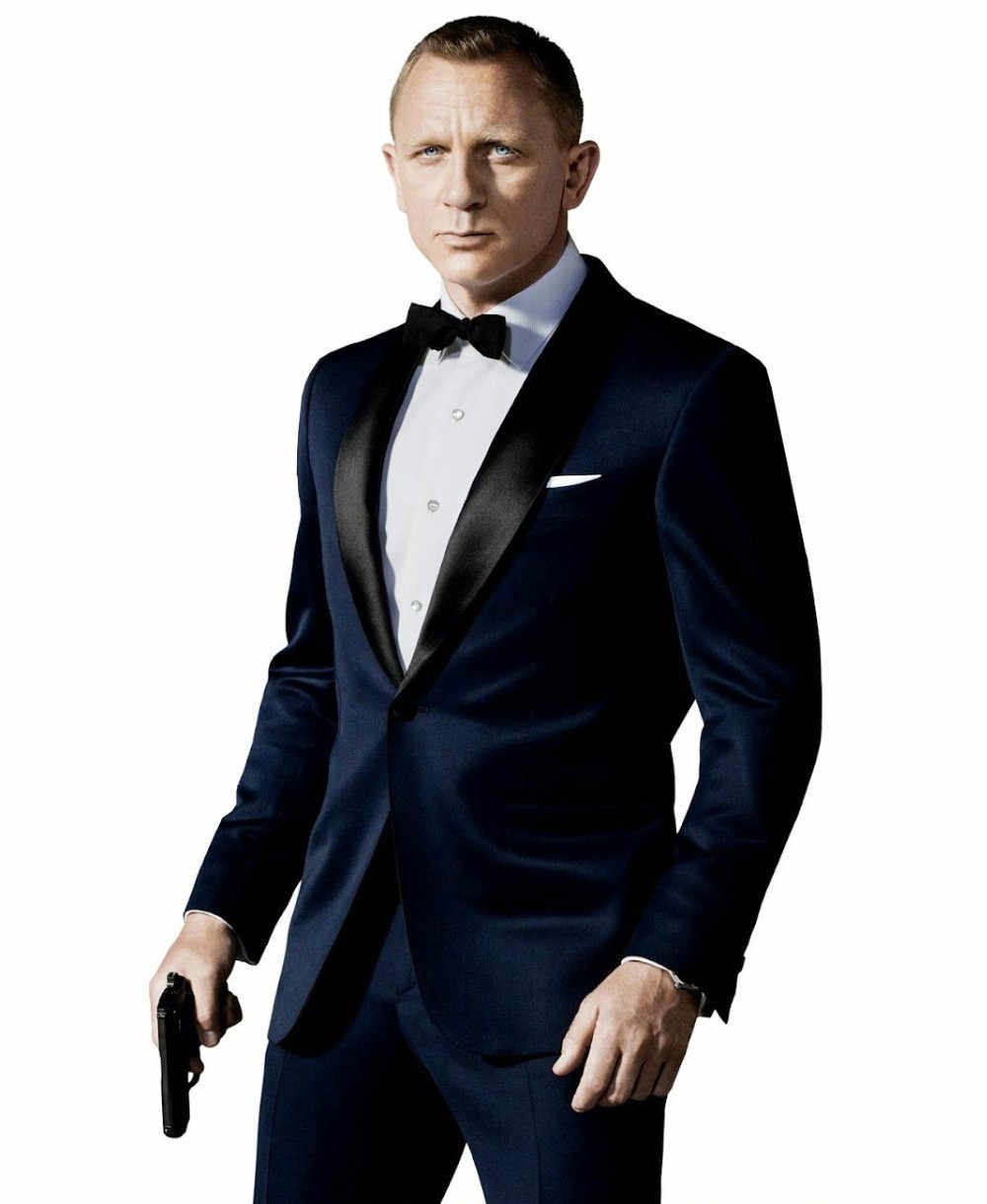 2015 High Quality Custom Made James Bond Suit Dark Blue