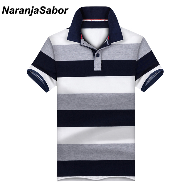 d34f880a US $9.66 45% OFF|NaranjaSabor New Casual Men's Polo Shirt Mens Short Sleeve  Shirts Men's Brand Clothing Male Striped Boys Stand Collar Polos 3XL-in ...