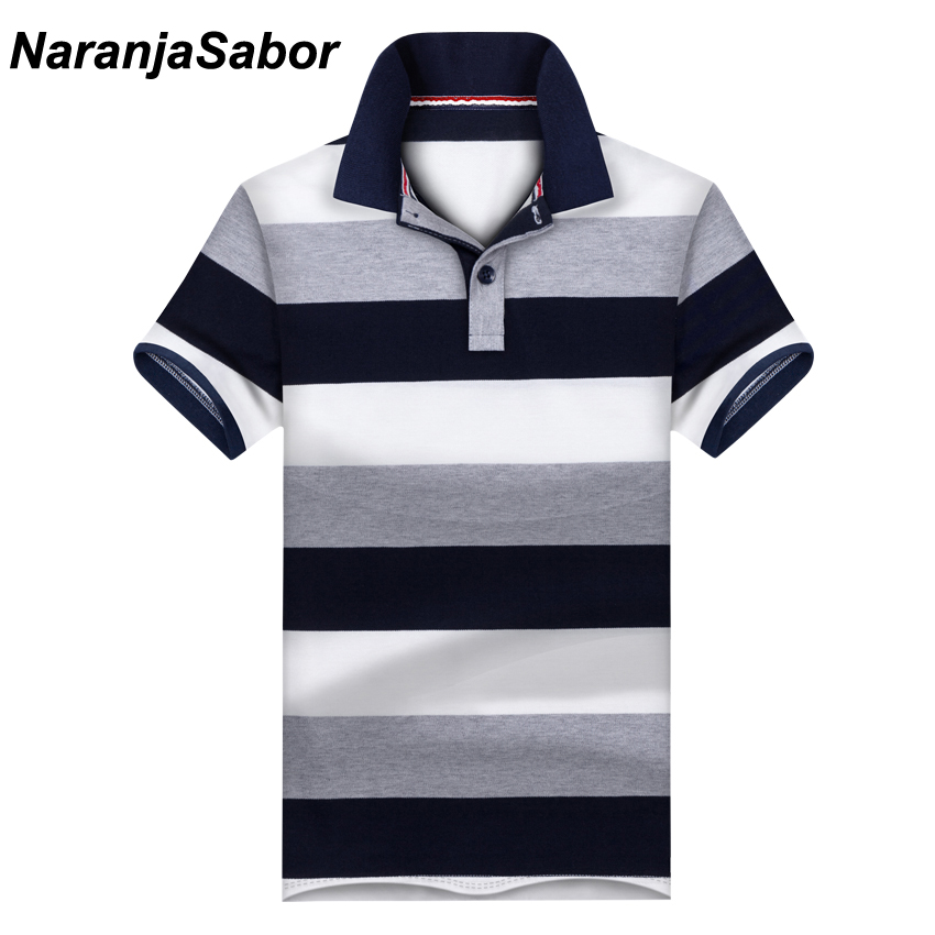 NaranjaSabor New Casual Men's   Polo   Shirt Mens Short Sleeve Shirts Men's Brand Clothing Male Striped Boys Stand Collar   Polos   3XL