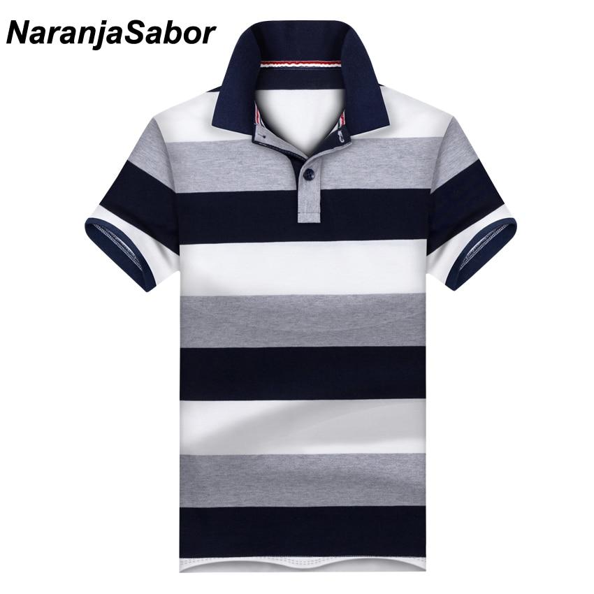 1fdcc2c46 NaranjaSabor Novos homens Casuais Camisa Polo Mens Camisas de Manga Curta  dos homens Marca de Roupa Masculina Meninos Listrado Gola Polos 3XL