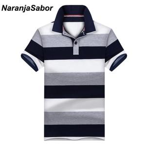 Naranjasabor الجديد عارضة الرجال بولو قميص رجالي قصيرة الأكمام قمصان رجالية ماركة الملابس الذكور شريطية الفتيان يقف طوق بولو 3xl
