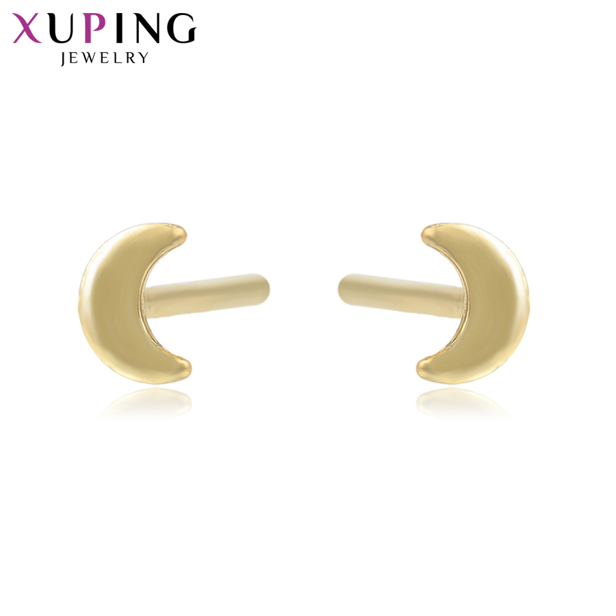 11.11 Deals Xuping Fashion Elegant Moon Shaped Earrings Light Yellow Gold Color Plated Studs Women Jewelry Gifts S82,7-95046