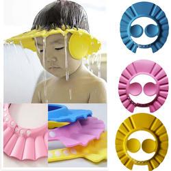Дети Безопасный Шампунь Душ для купания кепки для ванной защиты djustable мягкие для мытья волос Щит детей шапочка для купания