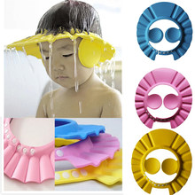 Kids Safe Shampoo Shower Bathing Cap Bath Protect djustable Soft Cap For Baby Wash Hair Shield Children Bathing Hat(China)