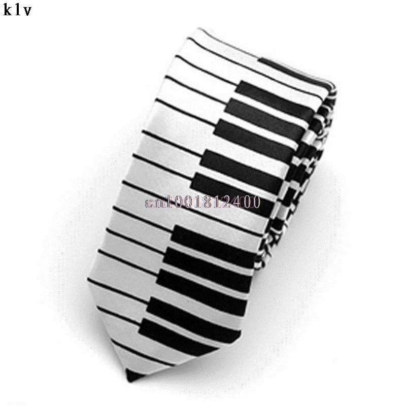 Men's Black White Piano Keyboard Necktie Tie Classic Slim Skinny Music Tie
