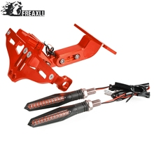 Universal Motorcycle License Plate Bracket Holder With LED Light For Aprilia RST1000 FUTURA Tuono V4 1100RR FACTORY Rs125 Rs50
