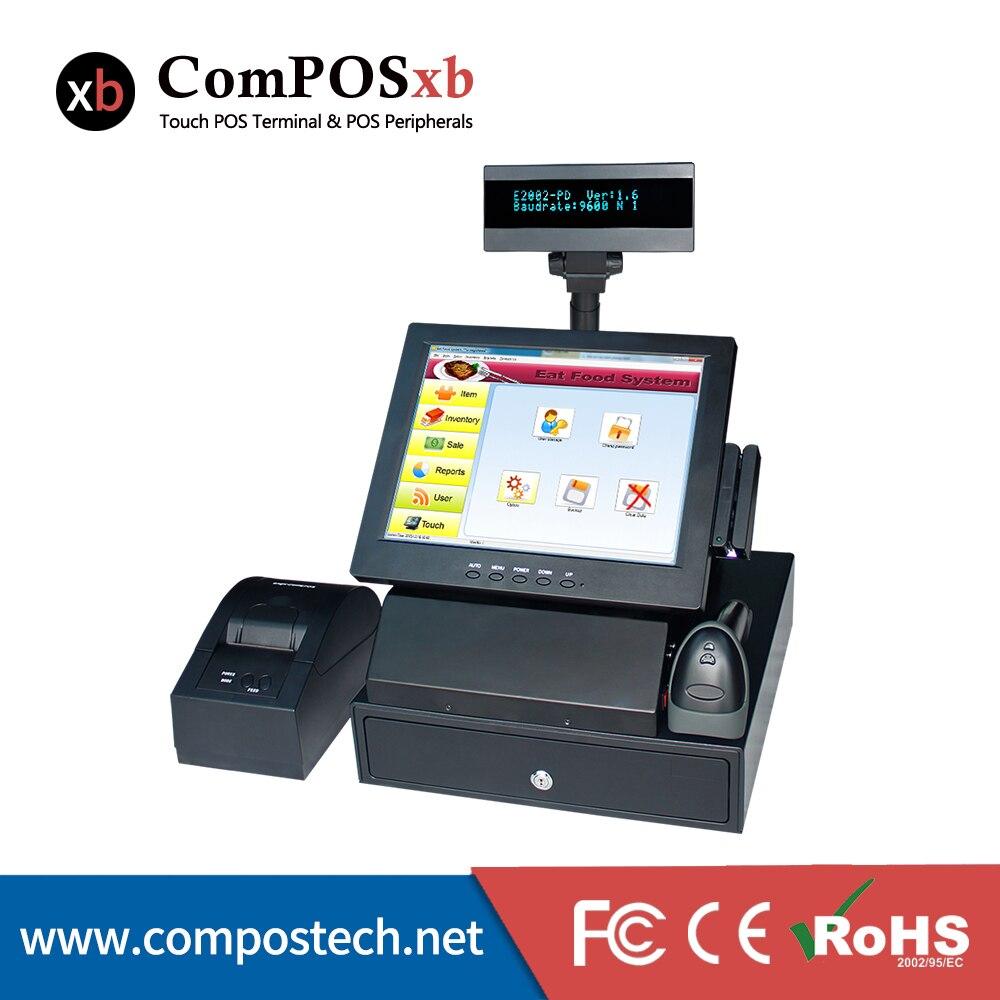 Gratis forsendelse 12 tommer shop alt i en mail maskine restaurant epos system pos terminal med win7 test version OS