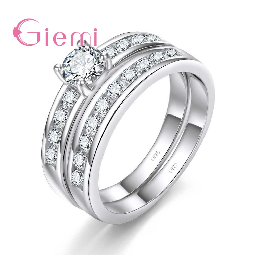 Giemi Lowest Price Hard Clear Crystal Cubic Zirconia Real 925 Sterling Silver Exquisite 2 Finger Rings For Women Ladies Jewelry