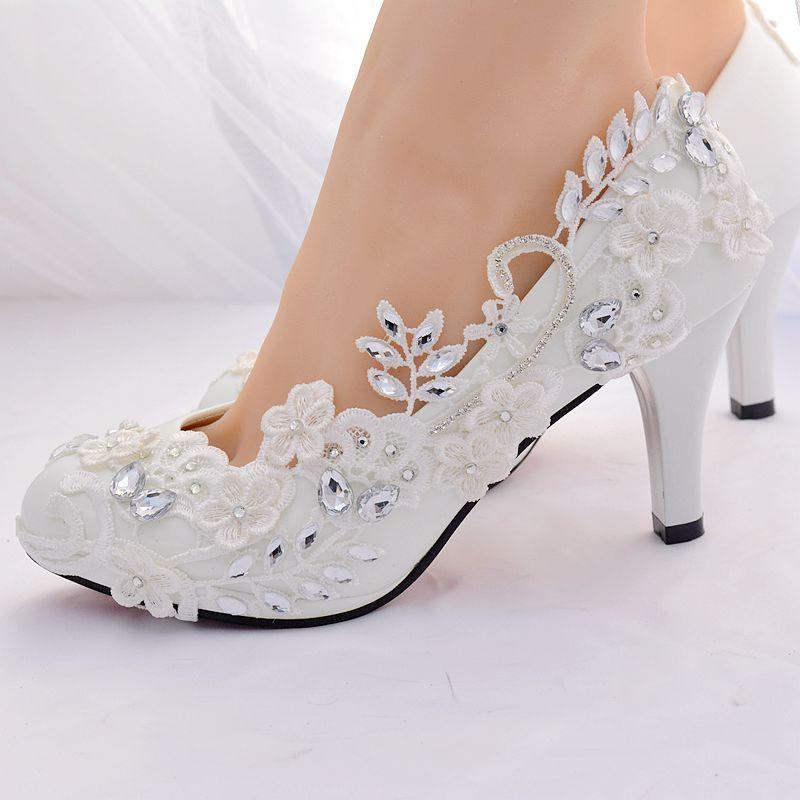 Mariage formes À De Cristal Plates Hauts Blanc Chaussures Pompes Dames Proms Dentelle Talons Femme Hs385 Romantique Partie Pompe Mariée qttSPHv
