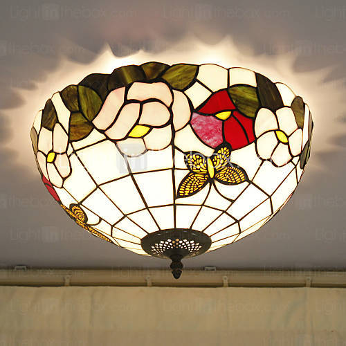 16 Inch Tiffany Style Stained Gl Ceiling Lights Flower Pattern Flush Mount Handmade Lampshade The Kitchen