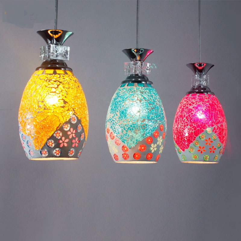 Colorful Tiffany dining room pendant light bar hall bedroom study Mediterranean Pastoral cafe lamps 3 heads Living room study ZA tiffany mediterranean dining room pendant lamps european style simple triple staircase modern living room lamp pendant lights