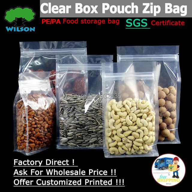Malote da caixa Clara Transparente Stand-Up Sacos Zip 50 pcs Para Armazenamento De Alimentos Saco de Fundo Plano/Reforço Lateral e Selos de Ângulo