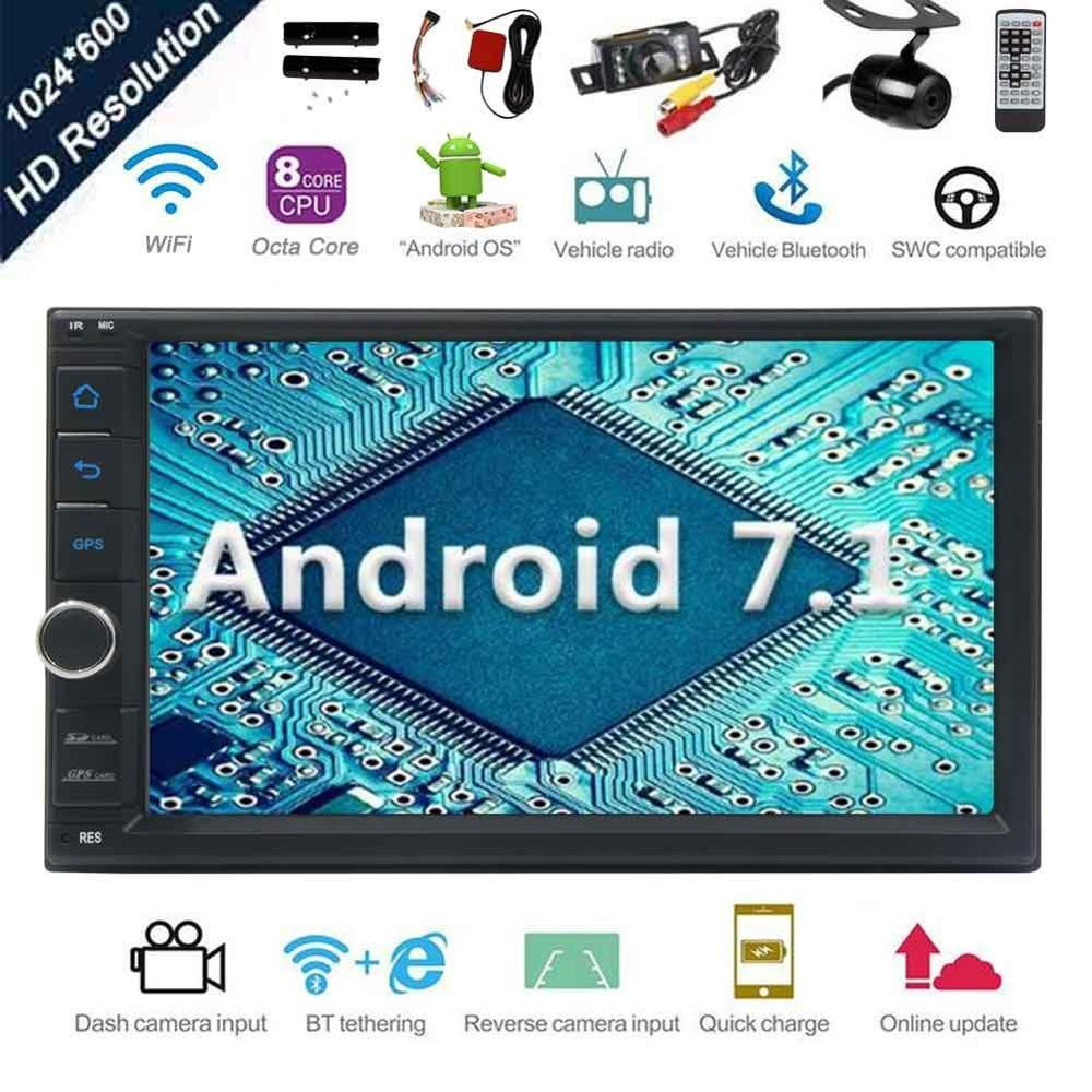 Android 7.1 Car Stereo Radio Octa Core Bluetooth GPS Navigation Support WiFi Mirror Link USB SD Backup Front Camera Touchscreen