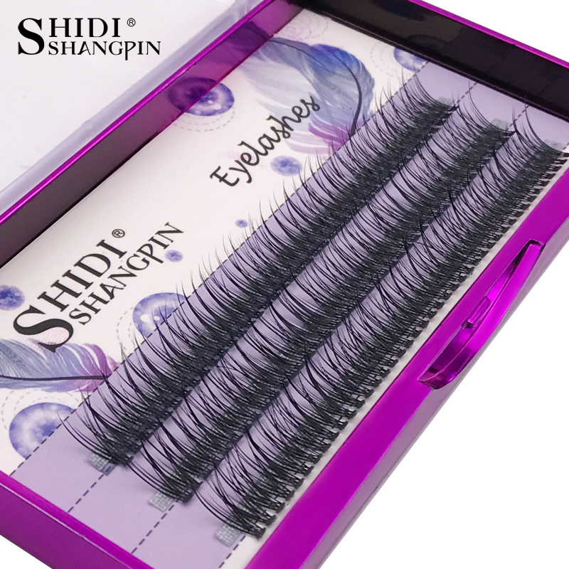 SHIDISHANGPIN 123PC / set 8/10 / 12mm pestañas falsas naturales Cluster individual Eye Lashes Extension Deluxe 3D maquillaje de las pestañas