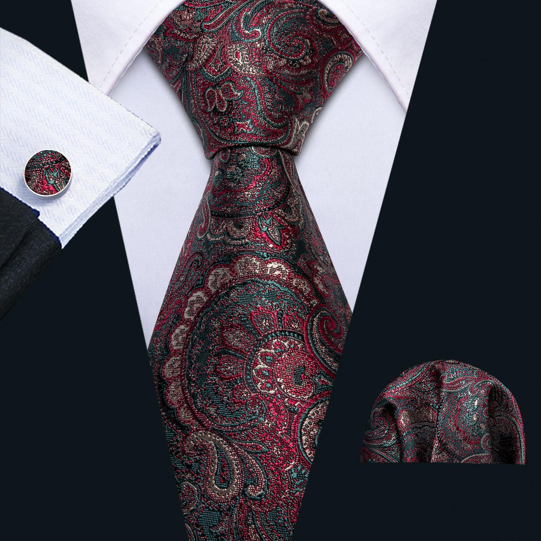 Barry.Wang Men Ties Silk Necktie Red Green Tie Paisley Handkerchief Cufflinks Floral Neck Tie For Business Wedding Party FA-5159