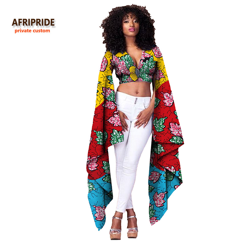 AFRIPRIDE private custom 2018 Summer new fashion short tight top with super long sleeves pure cotton ankara style tops A722406