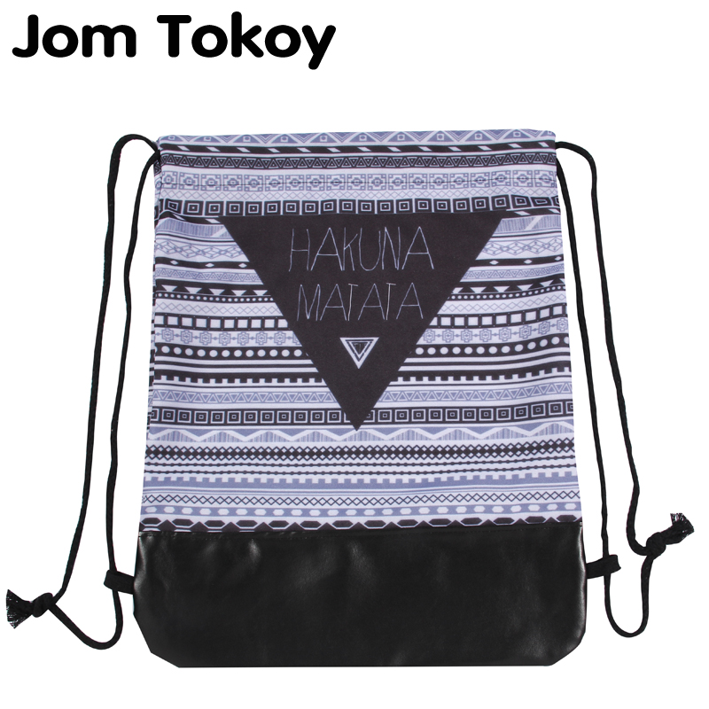 где купить Jom Tokoy 2018 New 3D Printing School Drawstring backpack Hakuna matata Pattern Women Drawstring Bags дешево