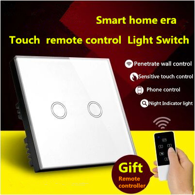 UK Standard Touch Remote control Light Switch, 2Gang1Way White/Gold Pearl Crystal Glass Wall Switch, With LED Indicator white 1 gang 1 way led crystal glass panel light touch screen remote switch for light with wireless remote control 110v 220v