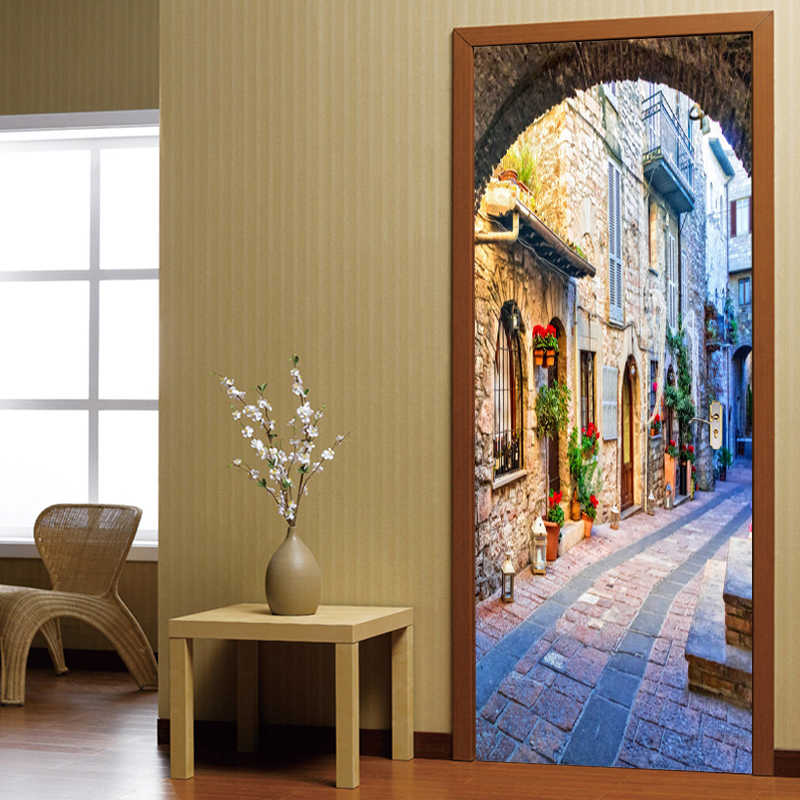 3D Door Wallpaper Italian Town Street View Door Sticker Photo Wall Paper Mural PVC Waterproof Self Adhesive Papel De Parede 3D