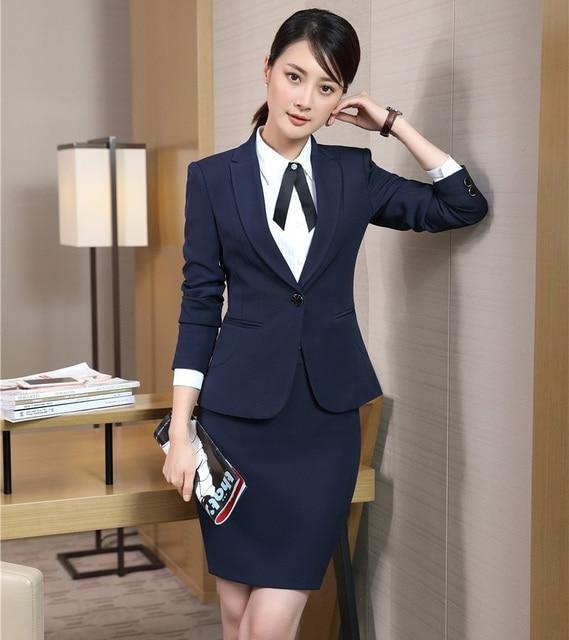 10bdd30039 Azul Marinho Formal Blazer Mulheres Ternos de Saia do Desgaste do Trabalho  Define Senhoras Ternos de