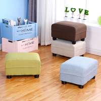 Wooden Household Simple Change Shoe Bench Living Room Sofa Stool Bedroom Creative Small Stool Cloth Seat Washable Soft Stool