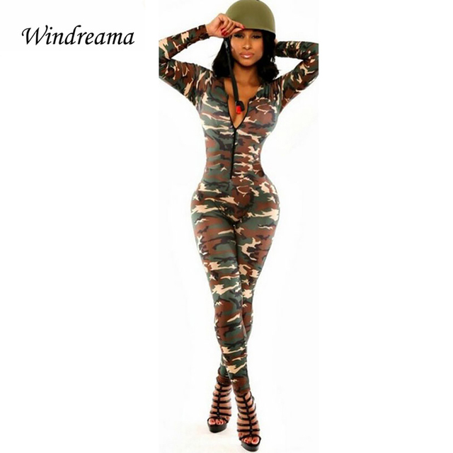 Sexy Bodycon Camouflage Jumpsuit Bodysuit Rompers Womens Jumpsuit Overalls Combinaison Femme Catsuit Army Soldier Playsuit