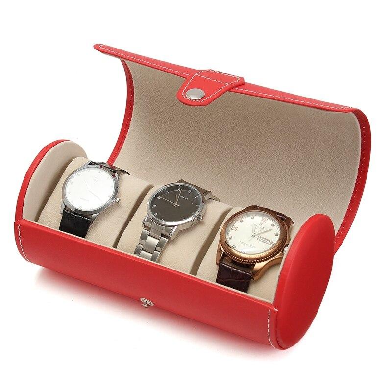 Watch Display Gift Box Case Roll 3 Slot Wristwatch Necklace Bracelet Jewelry PU Leather Box Storage