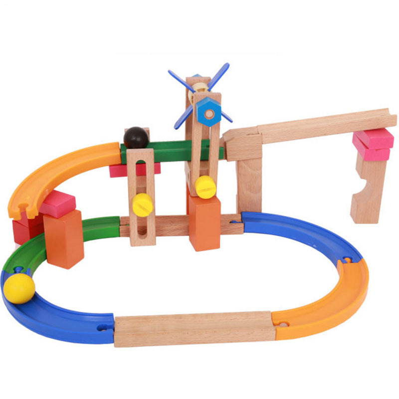 Roller Coaster Track Building Blocks Wooden Educational DIY Ball Combination Assembly Harmless Models Toys For Children