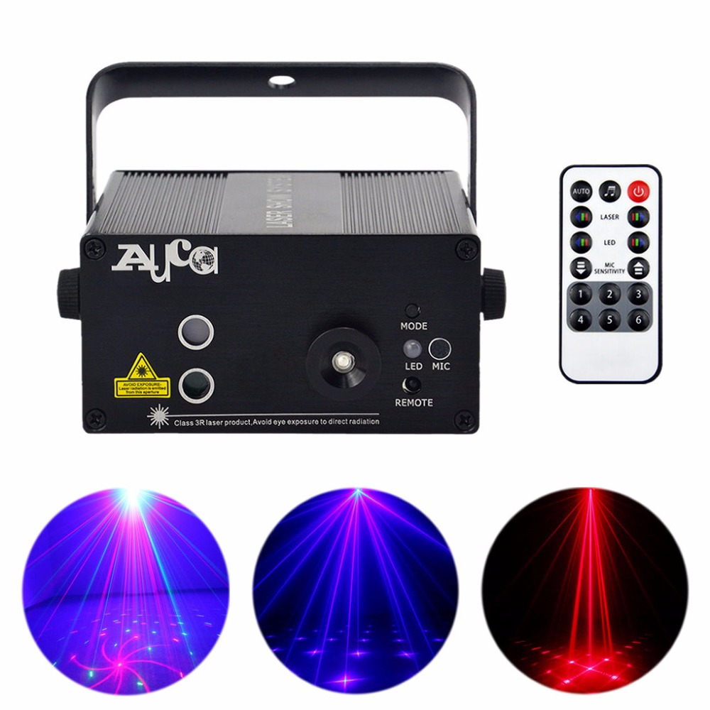AUCD Mini 3 Lens 18 Patterns Red Blue Laser Projector 3W Blue LED Mixed Effect DJ Wedding Party Xmas Show Stage Lighting AZ18RB 3 lens 36 patterns rg blue mini led stage laser lighting professinal dj light red gree blue