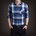 Nueva Primavera 2017 de Ocio de Moda Masculina de Algodón de manga larga Cuadrados Impresos Camisas/de los hombres de la Marca Camisa A Cuadros Informal camisas de negocios
