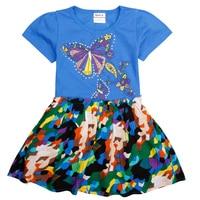 2016 New Nova Kids Baby Girl Dresses Short Sleeve Summer Party Butterfly Pattern Girl Dress Fashion