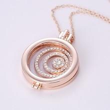 3pcs/lot Fashion Gold Color Round Perfume Frame Pendant Necklace Women Trendy Aromatherapy Necklace