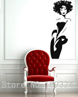 Sexy Afro Girl Beautiful Black Chick Salon Spa Mural Vinyl Wall Decal Wall Sticker Hair Salon Bedroom Home Decoration