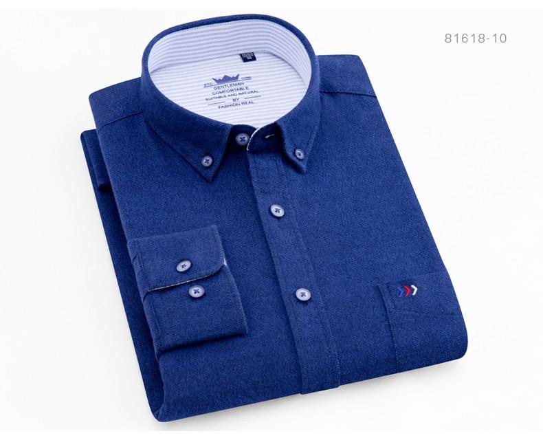 cb792e0b929 2019 Men S Brushed Cotton Plaid Button Down Shirt Chest Pocket Plus ...