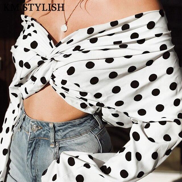 New Polka Dot Cross Cotton Blend Chiffon Shirt Europe and America Sexy Lumbar V-neck Variety long-sleeved Blouse women