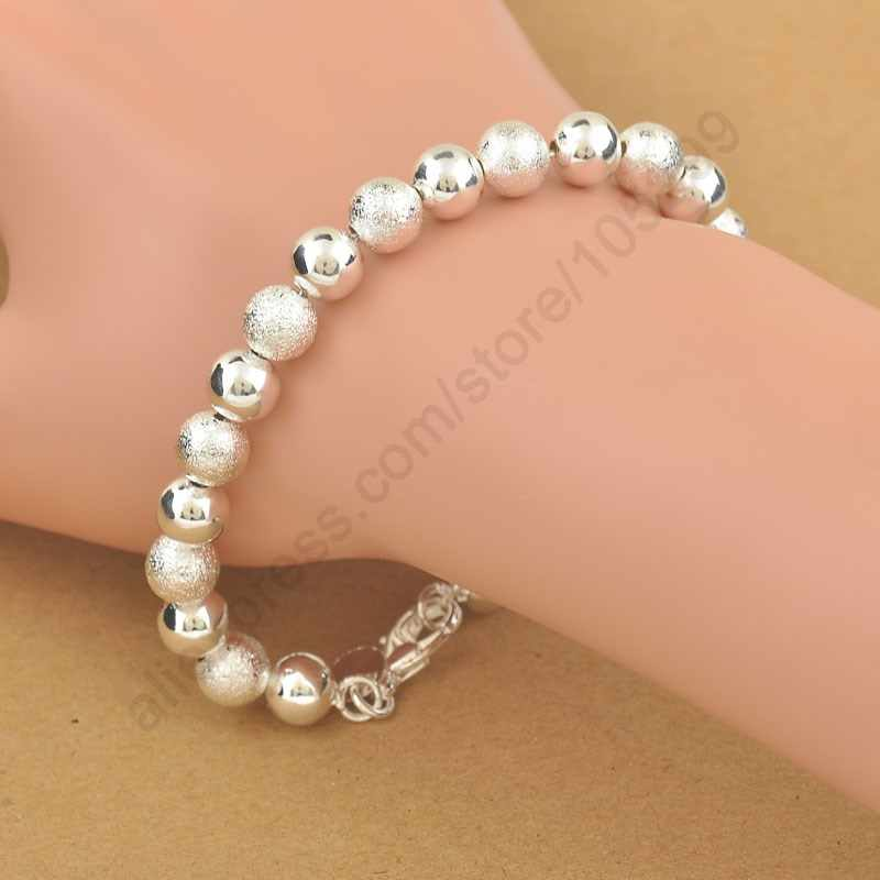 Hot Classic Elegant 925 Sterling Silver Beads Bracelet Bangles For Women Pretty wedding Jewelry Birthday Anniversary Gift