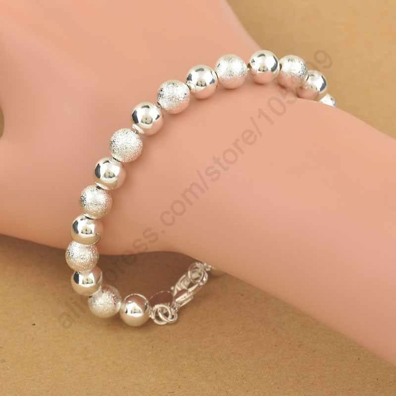 Hot Classic elegancka 925 Sterling Silver bransoletka z koralików bransoletki dla kobiet ładna biżuteria ślubna urodziny prezent na rocznicę