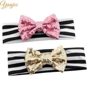 Image 1 - 10 Stks/partij Chic Europese Valentijn 4 Glitter Sequin Bow Gestreepte Elastische Hoofdband Hot Koop Headwrap Voor Kinderen Haar accessoires