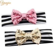 10pcs/lot Chic European Valentine 4 glitter Sequin Bow Striped Elastic Headband  Hot sale Headwrap For Kids Hair Accessories