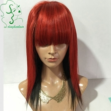16inch Peruvian virgin hair glueless full lace human hair wigs with bangs/short lace front wigs two layers red and 1b hair color