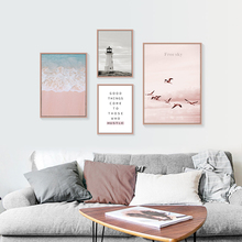 Sea Picture Scenery Posters And Prints Bird Canvas Painting Quotes Lighthouse Poster Beach Art Scandinavian Home Decor Unframed