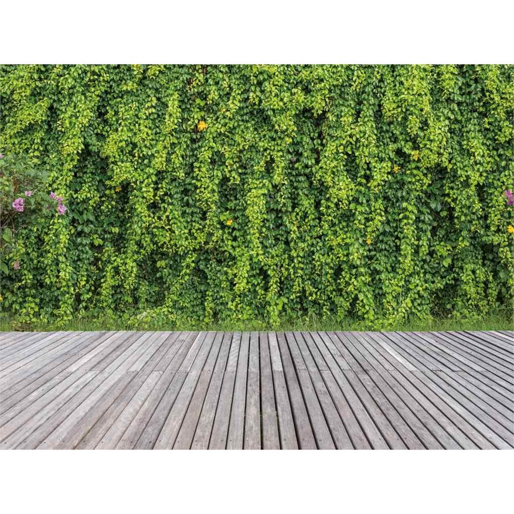 Allenjoy التصوير خلفية الربيع الأخضر جدار مصنع رمادي خشبية الطابق القديمة حديقة التصوير استوديو الدعائم مصور الفينيل