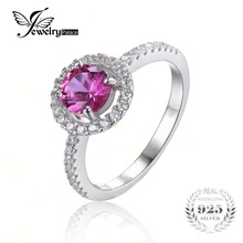 Jewelrypalace ronda 1.2ct creado rosa fiesta de compromiso de zafiro 925 anillo de plata anillo de la joyería fina para las mujeres