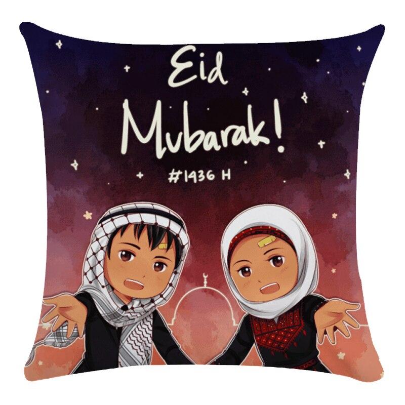 Ramadan Mubarak Cushion Covers Cartoon Islam Muslim Moon And Stars Lantern Cushion Cover Sofa Throw Decorative Linen Pillow Case
