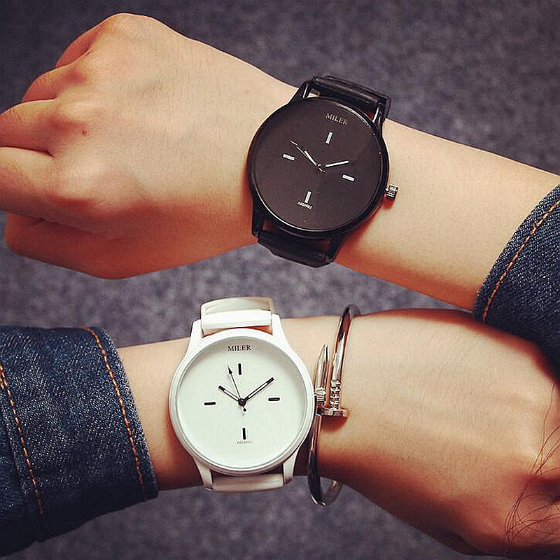fashion Brand Black White Silicone Watches Student Women Men Sport Quartz Watch Couple Slim Casual Watch Relojer Feminino